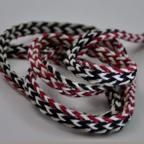 Tubular knit braid  black, white,ecru, Cherry 1.5cm wide